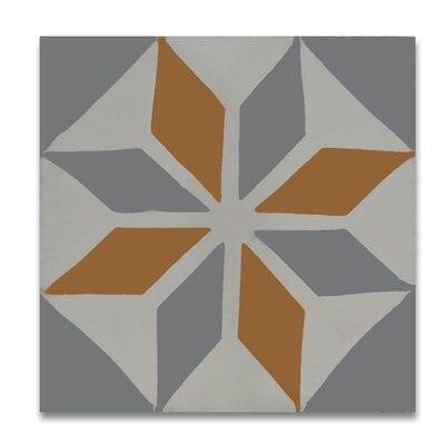 Assila 8 x 8  Handmade Cement  Tile in Gray/Orange