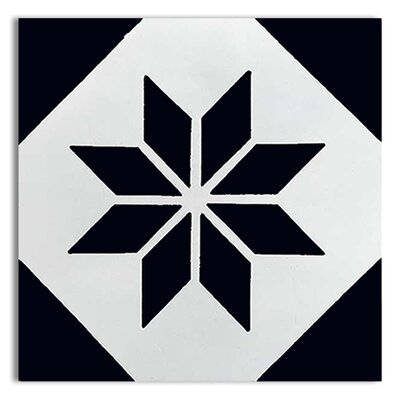 Assila 8 x 8 Handmade Cement  Tile in Black/White