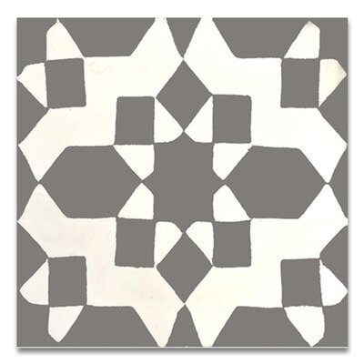 Assila 8 x 8 Handmade Cement Tile in Gray/White