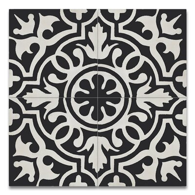 Baha 8 x 8 Handmade Cement Tile in Black/White