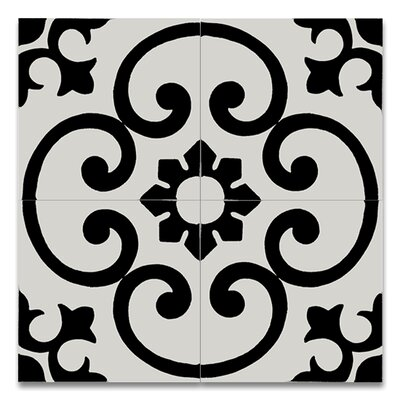 Orika 8 x 8 Handmade Cement Tile in Black and White