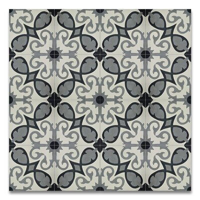 Agadir 8 x 8Handmade Cement Tile in Gray/White