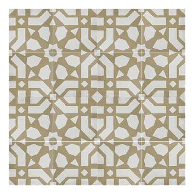 Azilal 8 x 8  Handmade Cement Tile in Yellow/White
