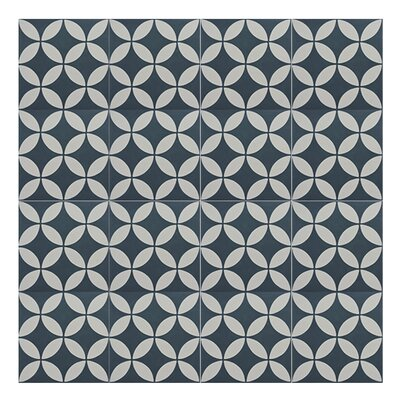 Amlo 8 x 8 Handmade Cement Tile in Navy Blue/White