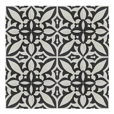Meknes 8 x 8  Handmade Cement Tile in Black/White