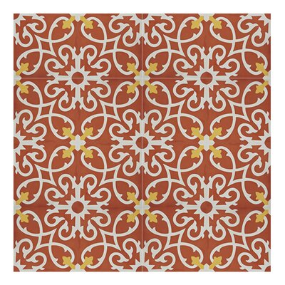 Agadir 8 x 8 Handmade Cement Tile in Red/White