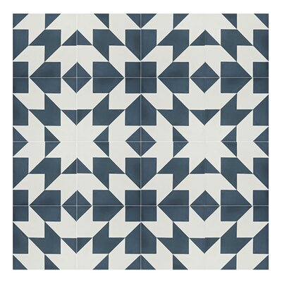 Oujda 8 x 8 Cement Wall Tile in Blue/White
