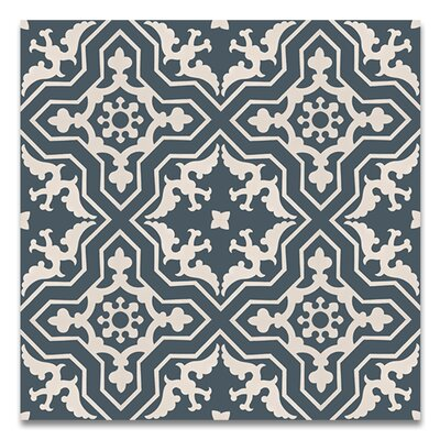 Temara 8 x 8 Handmade Cement Tile in Navy/White