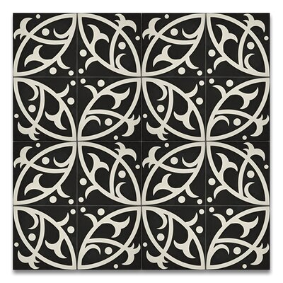 Hocima 8 x 8 Handmade Cement Tile in Black/White