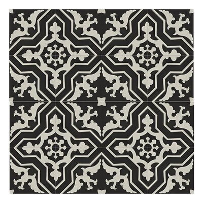 Temara 8 x 8 Handmade Cement Tile in Black/White