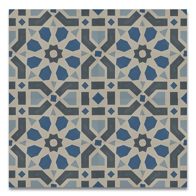 Azilal 8 x 8  Handmade Cement Tile in Black/Blue