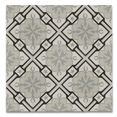 Chala  8 x 8 Handmade Cement  Tile in Black/Gray