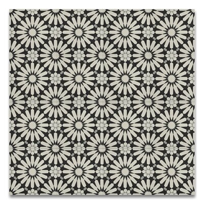 Alhambra 8 x 8 Handmade Cement Tile in Black/Gray