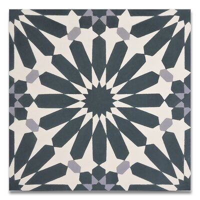 Alhambra 8 x 8Handmade Cement Tile in Navy Blue/Gray