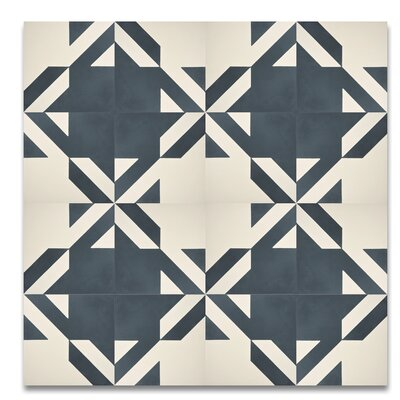 Tantan 8 x 8  Handmade  Cement Tile in Navy Blue/White