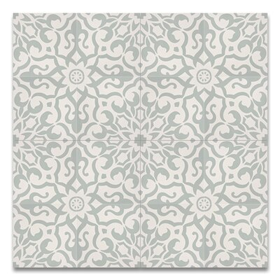Atlas 8 x 8 Handmade Cement  Tile in Green/White