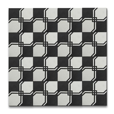 Marakech 8 x 8 Handmade Cement  Tile in Black/White