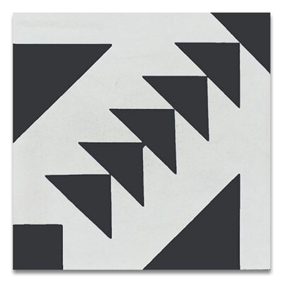 Tadla 8 X 8 Handmade Cement  Tile in Black/White