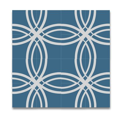 Tetouan Handmade Cement 8 x 8 Tile in Blue/White