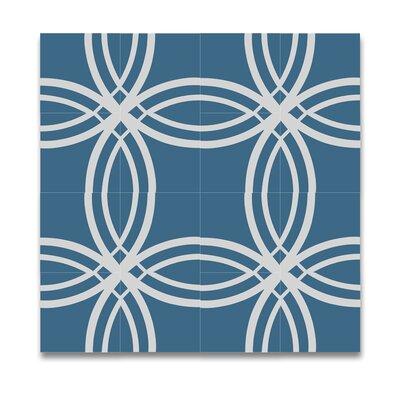 Tetouan Handmade Cement 8 x 8 Tile in Blue/White