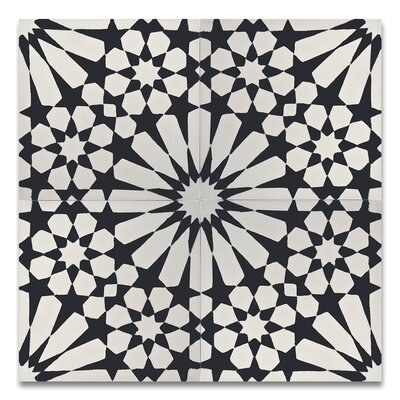 Agdal 8 x 8 Cement Tile in Black and White