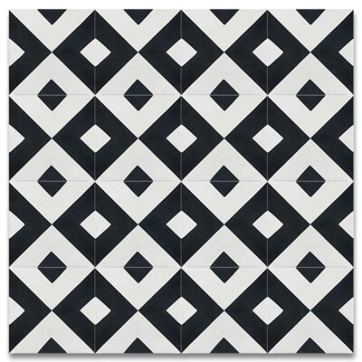 Jadida 8 x 8 Cement Tile in Black and White