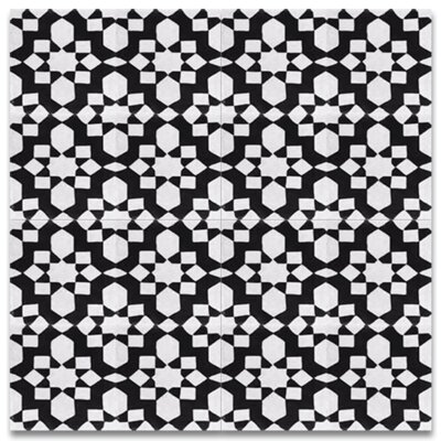 Affos 8 x 8 Cement Tile in Black and White