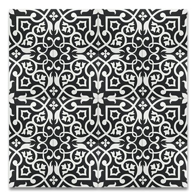 Dokala 8 x 8 Cement Tile in Black/White