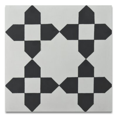 Martile 8 x 8 Cement Tile in Black/White