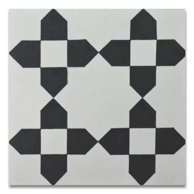 Martile 8 x 8 Cement Tile in Black/White