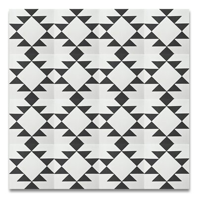 Rissani 8 x 8 Cement Field Tile in White/Black