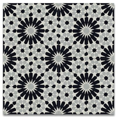 Agdal 8 x 8 Cement Tile in Black/Gray