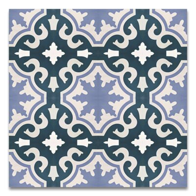 Tanger Handmade 8 x 8 Cement Tile in Navy Blue/White