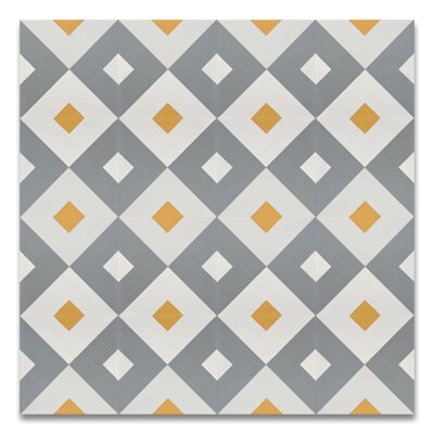 Jadida 8 x 8 Handmade Cement Tile in Gray and White