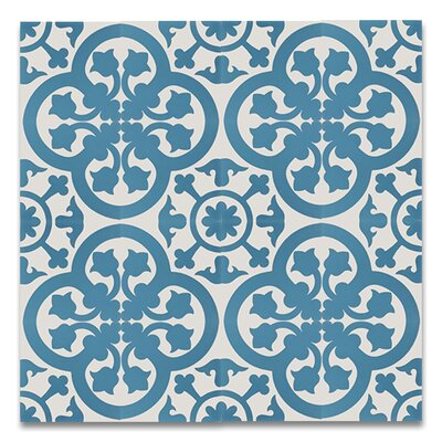 Melah 8 x 8 Handmade Cement Tile in Blue and White