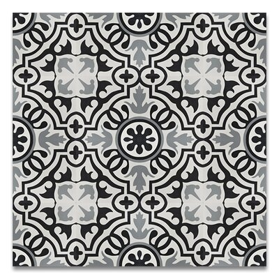 Baha Handmade 8 x 8 Cement Tile in Black/Gray