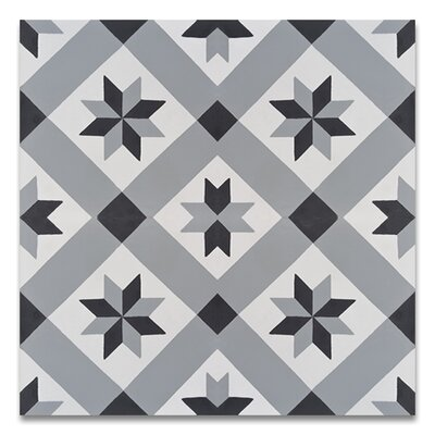 Kotoubia Handmade 8 x 8 Cement Patterned Tile in Black/Gray