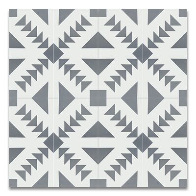 Tadla 8 X 8 Cement Patterned Tile in Gray/White