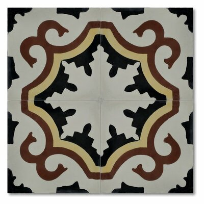 Tanger 8 x 8 Handmade Cement Tile in Black/Red