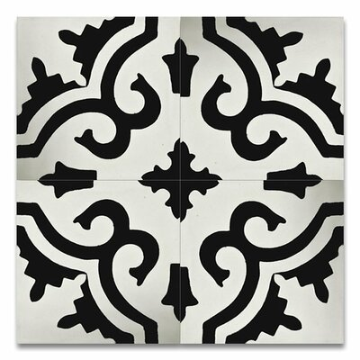 Tanger 8 x 8 Handmade Cement Tile in Black and White
