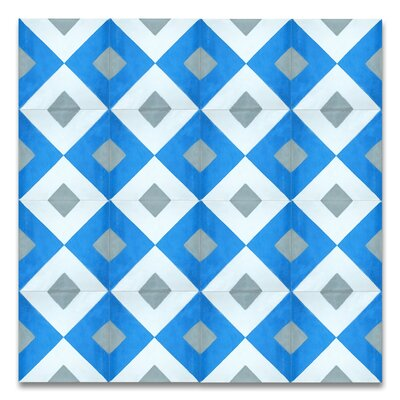 Jadida 8 x 8 Handmade Cement Tile in Blue and White