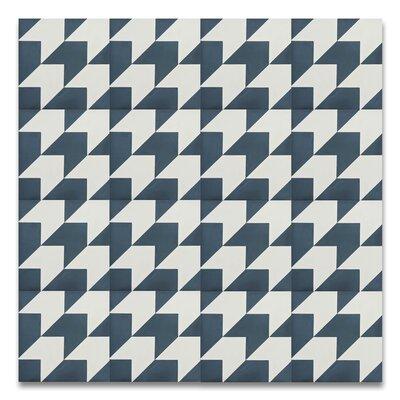 Oujda 8 x 8Handmade  Cement Tile in Blue/White