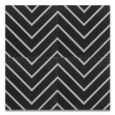 Amlil 8 x 8 Handmade Cement  Tile in Black/White