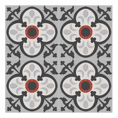 Nador 8 x 8 Cement Field Tile in Black/Gray