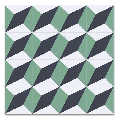 Diamond 8 x 8 Cement Field Tile in Green/White