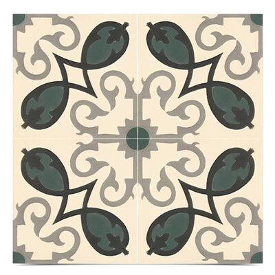 Agadir Handmade 8 x 8 Cement Field Tile in Green/White