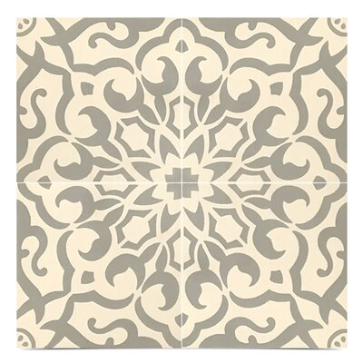 Atlas Handmade 8 x 8 Cement Field Tile in Gray/White