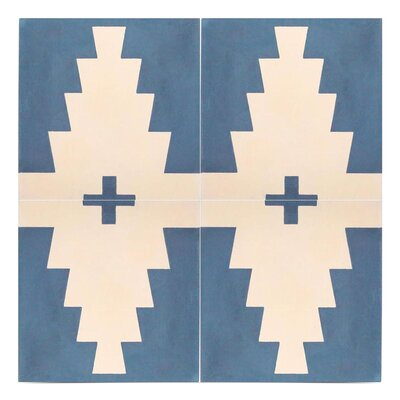 Midar Handmade 8 x 8 Cement Field Tile in Navy Blue/Off-White