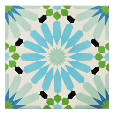 Alhambra Handmade  8 x 8 Cement Field Tile in Blue/Green