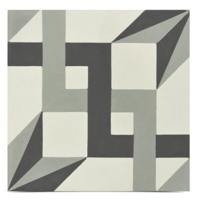 Sahara Handmade 8 x 8 Cement Field Tile in Gray/Black